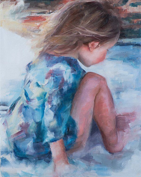 Little Girl On A Beach Oil Painting