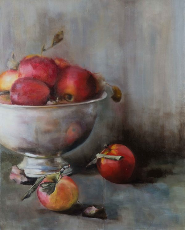 'Apples & Silver Bowl', oil on stretched canvas, 40cm x 30cm
