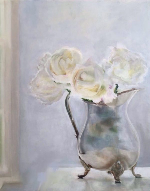 Cream Roses Silver Jug Oil Painting