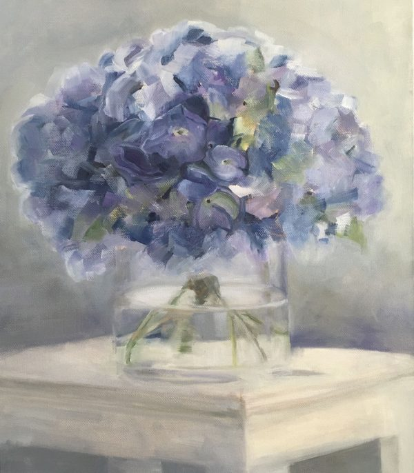 Hydrangeas In A Glass Vase Oil Painting