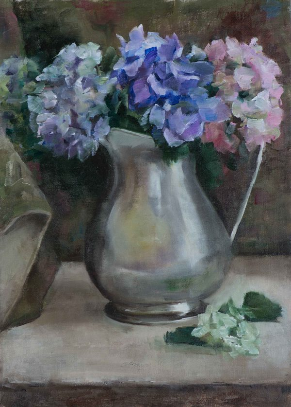 'Hydrangeas & Silver Jug',  oil on canvas board, 30xm x 20cm
