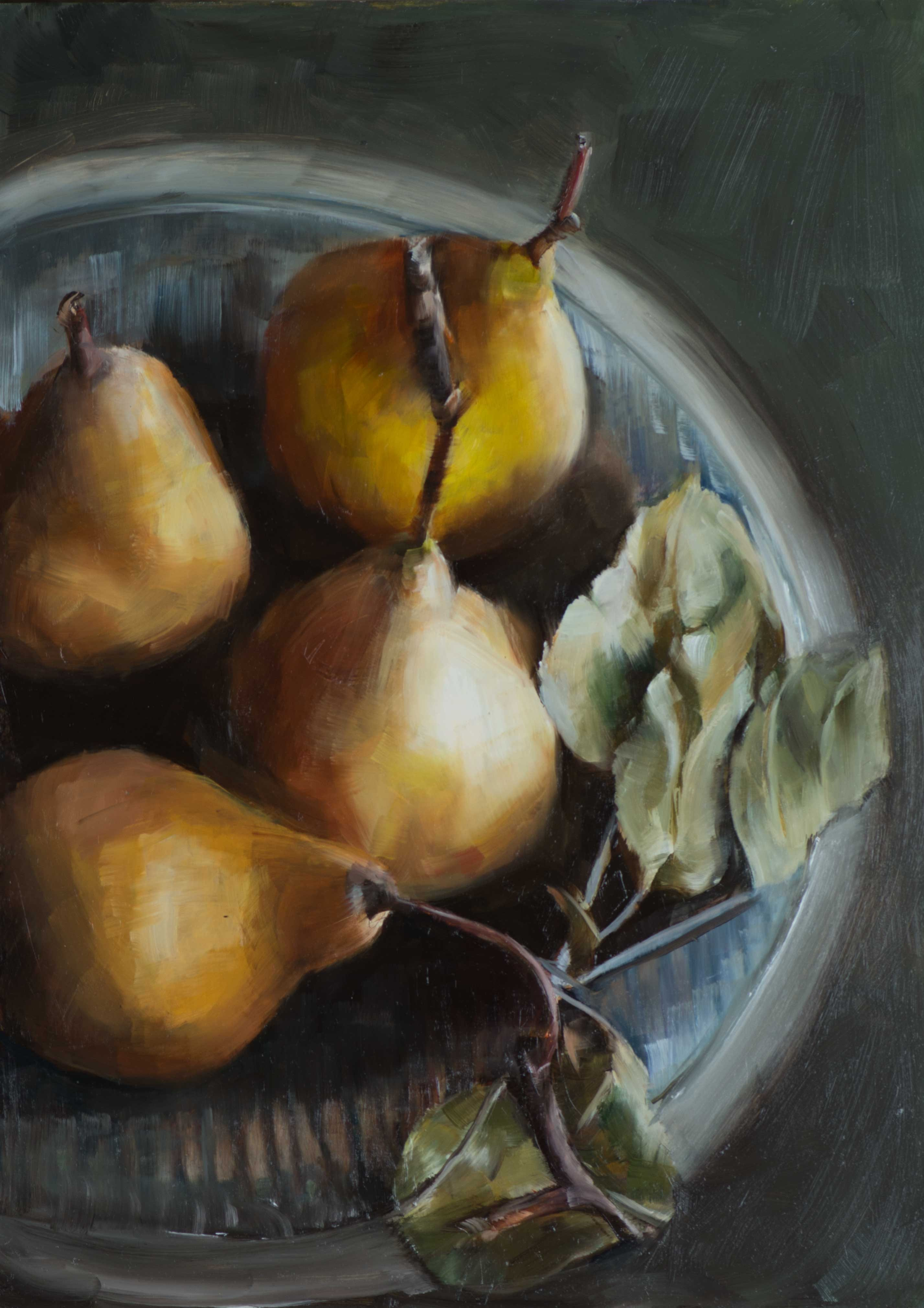 Pears On A Plate Oil Painting
