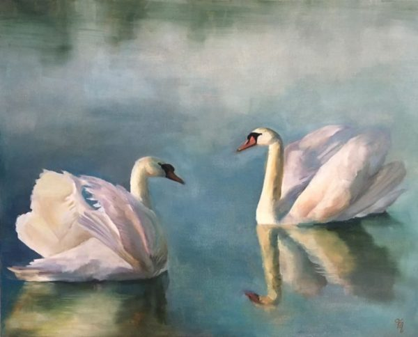Swans On A Lake Oil Painting