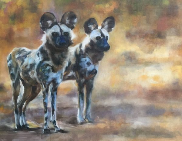 Wild Dogs Oil Painting