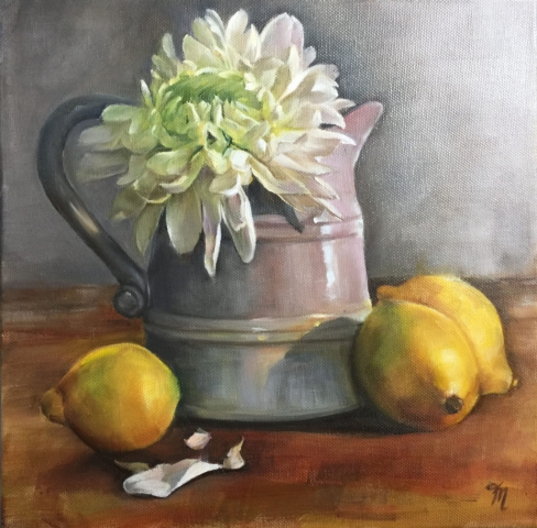 chrysanthemum in jug oil painting trish mitchell