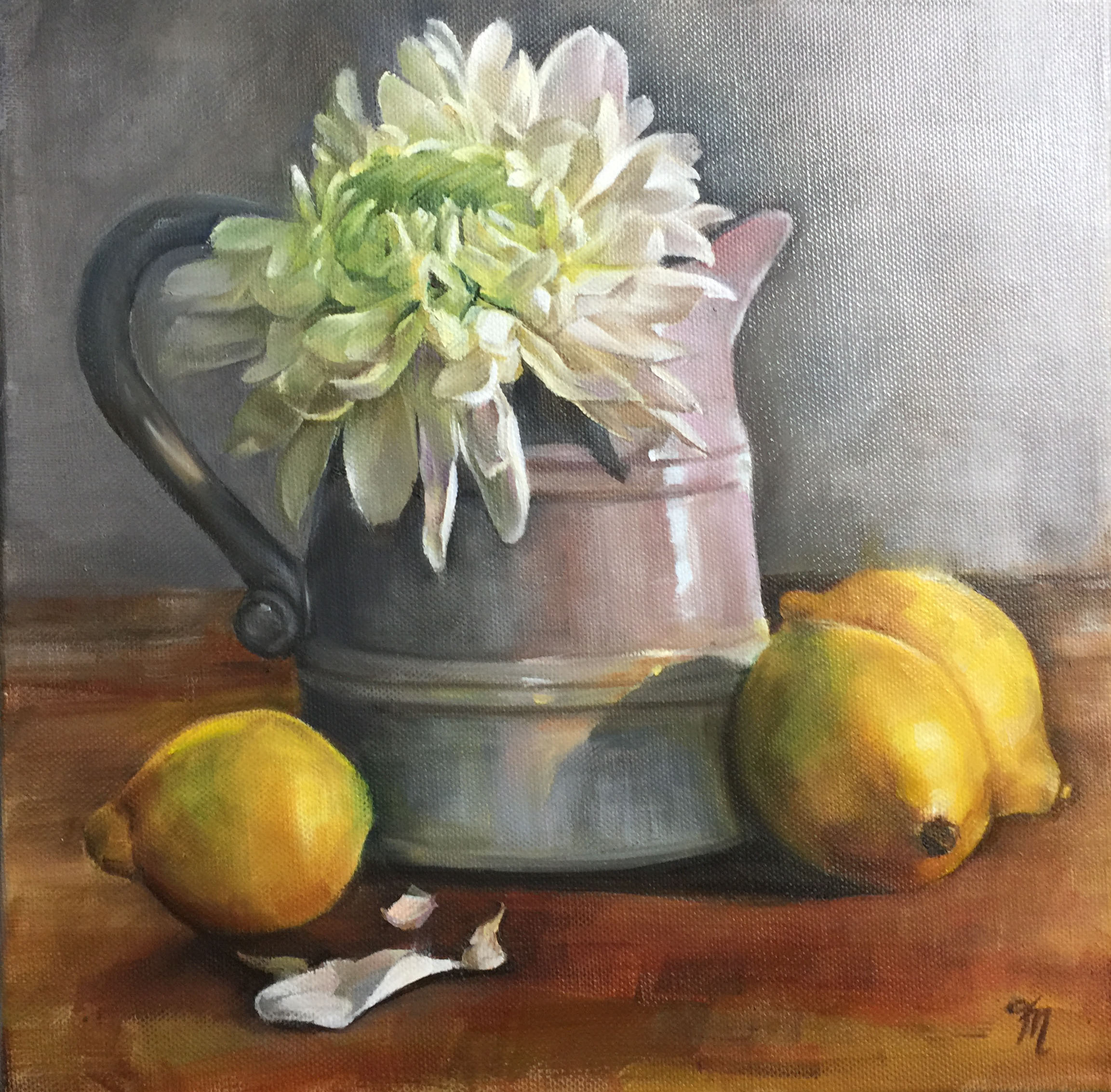 chrysanthemum in jug oil painting trish ann mitchell
