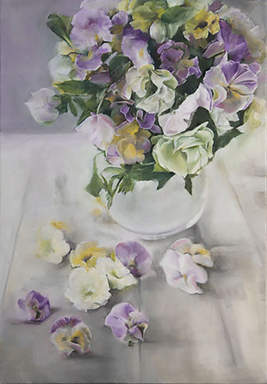 pansies glass vase painting trish mitchell fine artist